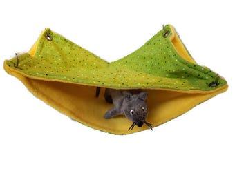 Rat Hammock - Rat Cage Accessories - Yellow Green Double Decker Snuggle Hammock - Sugar Glider Hammock
