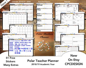 Polar Teacher Planner for GoodNotes with functioning Index tabs (iPad) : 2018/19 Academic Year, Sunday Start for US