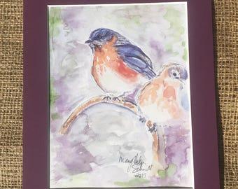 Garden Blue Bird Matted  Watercolor Print