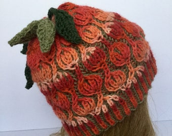 Two Colored Brioche Hat, Tulip hat, Pink Green Hat, Female Hat  100% Wool