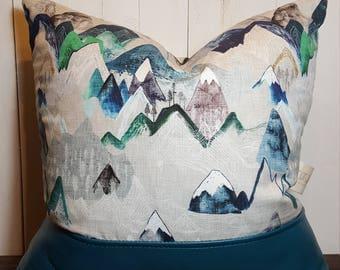 Mountain Peaks, Mountain Pillow, Pillows, Leather Pillow, Accent Pillow ,Decorative Pillow Throw Pillow Home Decor Mountains Hiking Gift