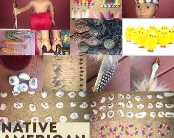 Native American doll accessories and children book