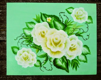 Lemon yellow cabbage rose floral acrylic painting Home decor sign