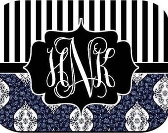 Monogrammed Mouse Pad - Stripes Blue Paisley
