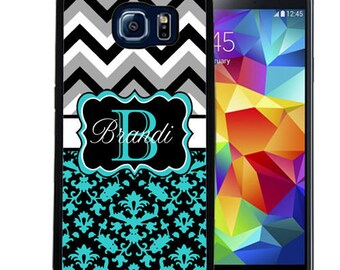 Personalized Rubber Case For Samsung S5, S6, S6 edge, S6 Edge Plus, S7, S7 Edge,  8, 8 plus -  Teal Damask Chevron