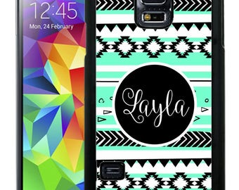 Personalize Rubber Case For Samsung Note 3, Note 4, Note 5, or Note 8- Mint Black White Aztec