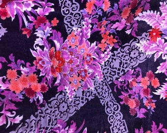 Burnout Silk Rayon Velvet Fabric - Gucci Flowers - Sold By The Yard