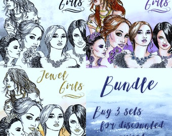 Jewel Girls Clip Art | Hand Drawn Graphics | Illlustration, Digital Cliparts | Girl Clip Art | Watercolour Clip Art | Bundle