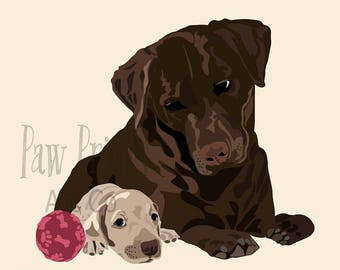 Chocolate Lab with Puppy Dog Art Print
