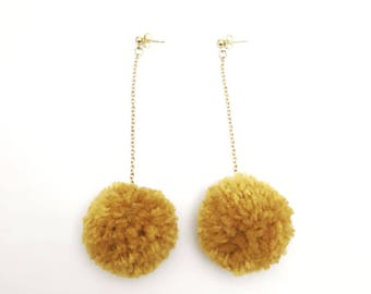 Yellow Mustard Pom Pom Earrings, Long Earrings, Yellow