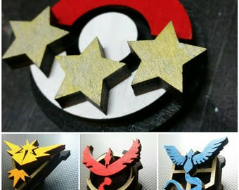 Pokemon GO wooden hand painted badge: Team Instinct, Team Mystic, Team Valor, Collector Badge