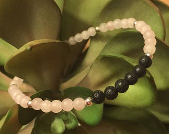 Tranquility Diffuser Bracelet 4mm Rose Quartz and Lava