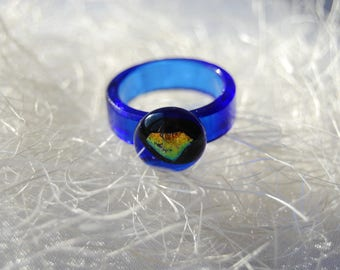 Blue Recycled glass ring Size 9, Dichroic glass, Fusing ring, Glass jewelry, Cobalt, Fused ring, Handmade ring, for her, Statement rings