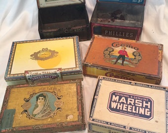 Vintage Cigar Containers - 4 boxes, 2 tins