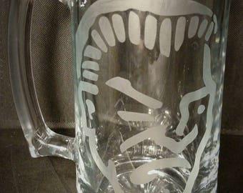 25 OZ Glass Beer Mug with Criminal head