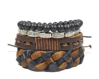 4 Pack Brown Tibetan Bracelet Set