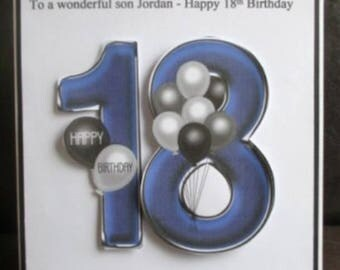 Personalised Handmade Balloons 18th Birthday Card Son Grandson Godson Nephew Step Son