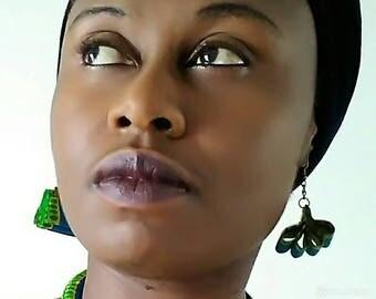 Clover in african fabric earrings. Very original.