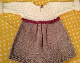 Kuzzy Design Knit Baby Dress,Knit Baby Dress,Handmade Dress,0-3month,3-6month,6-9month,9-12month