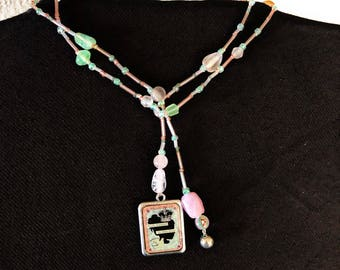 Easily Distracted by Shiny Things Pink and Green Lariat Bead Necklace