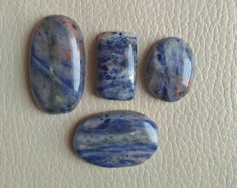 Natural Gemstone Jewellery, Natural 04 Pieces Lot Amazing Blue Sodalite Gemstone, 115 Carat, 35x20x7, 30x20x7, 24x18x8, 25x15x9 MM Approx,