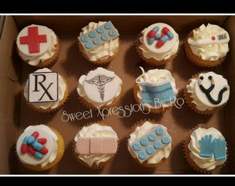 Medical themed edible cupcake toppers -nurses, doctors