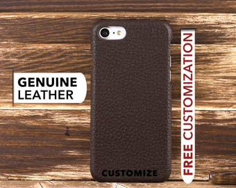Leather iPhone 7 Case, Personalized iPhone 7 Plus Cover, Genuine Leather Case for iPhone 7 / 7 Plus, iPhone 7 Custom Engrave Case, Brown