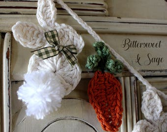 Crocheted Rabbit Garland, Crocheted Bunny Garland, Easter Garland, Easter Bunting, Carrots, Spring Garland, Spring Bunting, Pom Pom, Baby