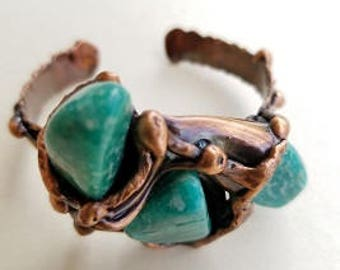 Copper Bracelet with Amazonite