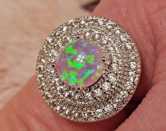 Pink Fire Opal & White Topaz Gemstone Sterling Silver Plated Ring,  Size - 8