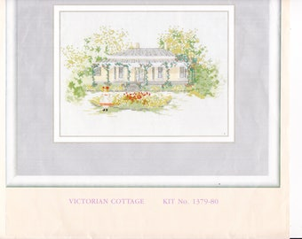 Counted Cross Stitch Kit:  Victorian Cottage by Anchor || Embroidery Kit || Needlepoint Kit || Cross Stitch Kit