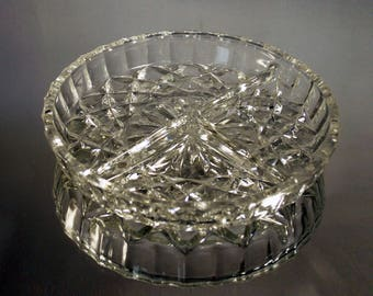 Vintage Cut Crystal Glass Appetizer Plate, Nuts dish, Cut Glassware, 1970s Crystal Collectables Vintage Kitchen Crystal Tableware Candy Dish