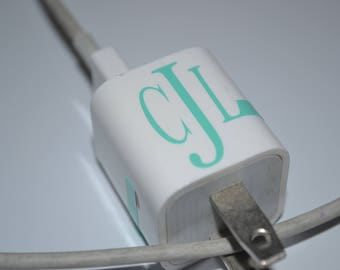 Monogram Charger Decal - Apple Charger