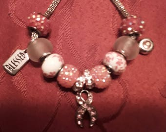 "Breast Cancer Awareness Murano Bead Charm Bracelet ""BLESSED"""
