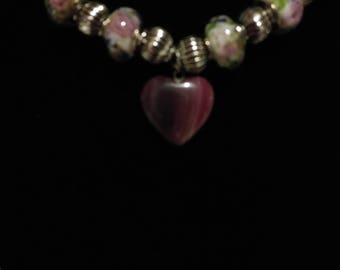 Romantic, Flowered, Glass, Murano Bead, Necklace with Deep Rose, Stone Pendant