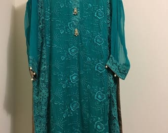 Blue Chiffon Embroidered Suit