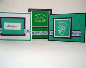 set of 3 thank you cards,thank you card,greeting cards,teapot,tea cup,flowers,bouquet,thank you,embossed,ribbon,purple and green