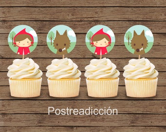 Red riding hood cupcake wrappers | Printable | Digital download | Single item