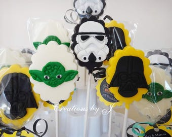 1 dozen (12 treats) Star Wars choclate lollipops