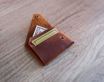 Folding leather wallet, coin wallet, personalized leather wallet, origami wallet, stitchless wallet, compact wallet, coin purse, folded