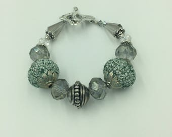 Slate Blue Crystal bracelet with Antique Silver Finishes and Confetti Focal Beads