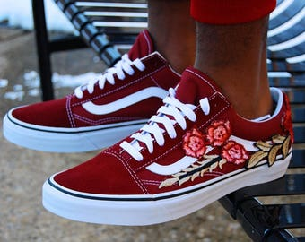 "Vans Custom Rose Embroidered ""Stay Low"" Burgundy Sneakers"