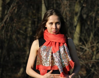 Unique Silk Modal Sequin Border Scarf, Best to Own or to Gift