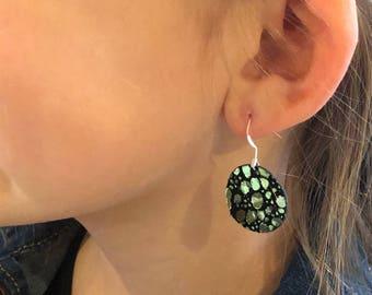 Mermaid Tail Leather Circle Earrings