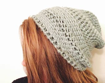 Long, slouchy beanie-Sage green