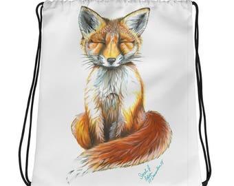 Baby Red Fox Drawstring bag