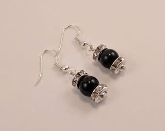 Black Beaded Dangle Earrings with Rhinestone Diamond Accents