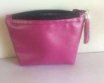Pink faux leather wallet