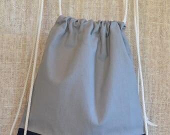 Canvas drawstring backpack: Navy + Grey