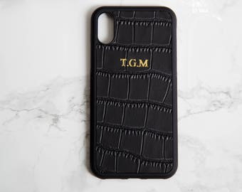 iphone x case leather personalised